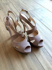 NAVY BOOT Luxus Plateau Sandalette Velours Leder High Heel beige grau 37 wNEU