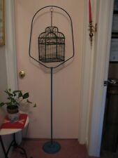 vintage hanging birdcage stand blue