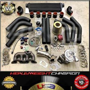 01-05 Honda Civic D17 ES2 2/4 Dr DX LX EX Turbo Charger Kit T3/T4 Manifold+Bov
