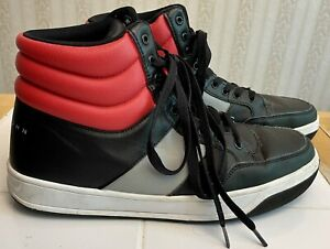 Rare Sean Jean Leather High Top Basketball Hi Black/Gray/Red Shoes Sneakers 10.5