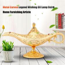 Metal Carved Genie Lamp Magic Vintage Wishing Tea Oil Pot Arabian Art Craft Gold