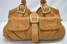 Cole Haan Golden Tan Soft Pebble Leather Buckle Flap Pocket Satchel Tote Bag