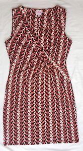 EUC Sz 12 Leona Edminston Dress Geo Print Sleeveless Above Knee Length Chic Work