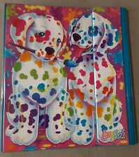 VTG Lisa Frank 3-ring Binder trifold Keeper style  spot paint brush puppy dogs