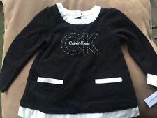 NWT CALVIN KLEIN SEQUINS LOGO Toddler Black AND WHITE Dress Size 2T