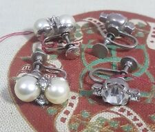 Vintage Earrings: Womens Clip On Two Pairs Mechanical Bling Theater Props