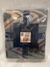 New in Sealed Bag Pendleton Jacquard Classic Reversible Throw - Blue Brown