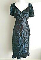 Laura K Grey Black Frill Mother of the Bride Skirt Top Set Dress Size 14