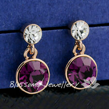 9K 9CT GOLD GF Purple Amethyst Dangle EARRINGS Swarovski CRYSTAL ES326-1L