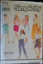 Simplicity 7114 Skirt and Coulttes ,Pants or Shorts Sizes 6-24 Hip 32.5-48