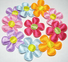 100 Mixed 28mm Padded Satin Flower appliques/Trim for Cards/Craft