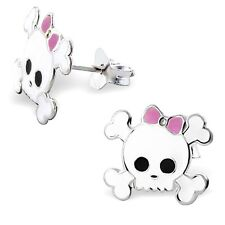 CUTE WHITE SKULL & CROSSBONES STUD EARRINGS - Pink Bow with Gift Box