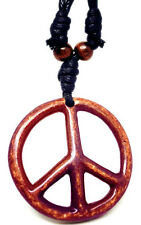 H1013 peace sign wooden bead adjustable string resin pendant necklace chain