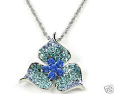 Blue/Green Flower Simulated Diamond Pendant