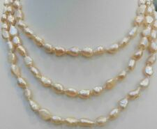 Akoya cultured pearl necklace 18k Gp Genuine natural 80 inches 7-9 mm pink
