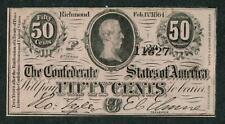 RICHMOND VIRGINIA CONFEDERATE STATES 50 CENTS CIVIL WAR BANKNOTE c1865