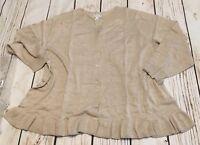 Joan Rivers Plus Heather Oatmeal Cotton Blend Sweater Cardigan Size 3X