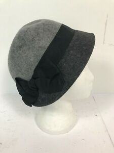 Ladies Grey & Black Wool Cloche 1920's Style Accessorize Hat - Size M/L BNWT A91