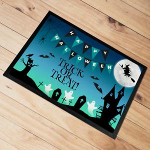Happy Halloween Door Mat floor mat Trick Or Treat 60 x 40 cm Green & Blue
