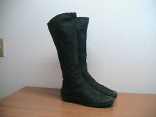 Womens 7 US, 5 EU ARCHE Black Nubuck Leather Swirl Zip Tall Boots RARE, $695.00