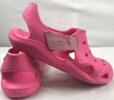 Crocs Sandals Pink Strap On Water Shoes Swiftwater Wave Juniors Size 2 US