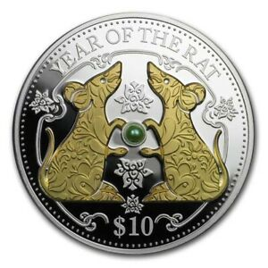 2020 Fiji 1 oz Silver Year of the Rat Proof (Gold Gilded w/Pearl) - SKU#189188