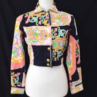 GIANNI VERSACE Vintage Long Sleeve Coat Jacket Black Pink Authentic AK36809g