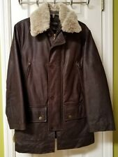 VINTAGE Structure Men's chocolate brown HEAVY THICK  leather jacket coat Size XS