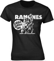 RAMONES Gabba Gabba Hey Cartoon WOMENS GIRLIE T-SHIRT OFFICIAL MERCHANDISE