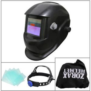Zorax Auto Darkening Welding Helmet Mask Welders Grinding Solar Power Black