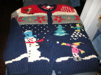 EUC WOOLRICH WOMENS BUTTON FRONT WINTER HEAVY CARDIGAN SWEATER - LARGE