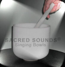CRYSTAL SINGING BOWL 8 INCH THROAT CHAKRA NOTE G QUARTZ FROSTED FUSION BOWLS NEW