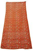 Embroidered Dupatta Orange Vintage Hijab Ethnic Indian Women Long Wrap EMBDP5231