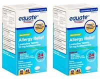 (2-Pack) Equate Non-Drowsy 24-Hour Allergy Relief Loratadine 10mg 45ct exp 11/19