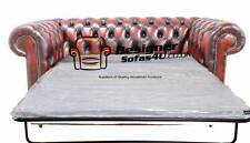 Brand New Chesterfield 2 Seater Sofa Bed Antique Oxblood Leather Sofa Settee