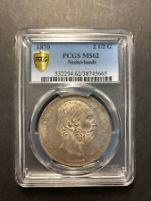 Netherlands William III silver 2 1/2 gulden 1870 toned uncirculated PCGS MS62