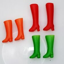 3 Pairs Vintage Barbie Soft Plastic Lace Up Boots Lot Red - Orange - Green