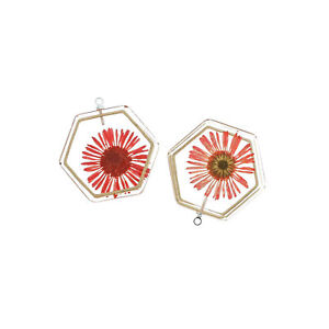 2 Red Dried Flower Silver Tone and Resin Charms - K418