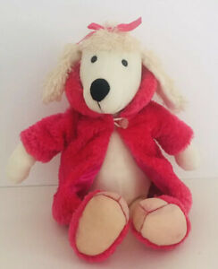 """JELLYCAT Handsome Glam Hound Plush Poodle Puppy Dog Pink Coat Fluffy Used 12"""""""