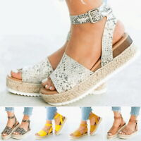 Women Casual Platform Sandals Espadrille Ankle Strap Comfy Fish Mouth Shoes US
