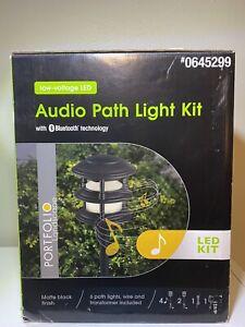 Portfolio Bluetooth Audio Path LED Landscape Light Kit 4 W/ Speakers, 6 Lights .