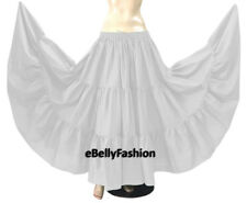 Black - Cotton 10 Yard 3 Tier Belly Dance Gypsy Tribal Ethenic Flamenco Skirt