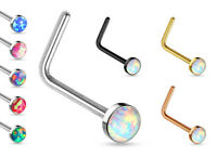 1pc Opal Set L-Bend Nose Ring 316L Surgical Steel Body Jewelry