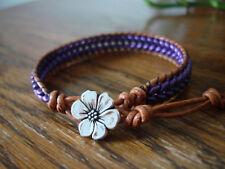 Metallic Purple Suede Herringbone Handmade Beaded Leather Wrap Bracelet