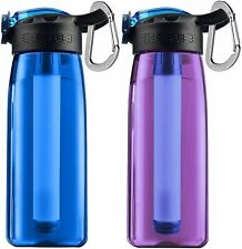 Outdoor Survival Water Filter Bottle Straw Purifier Emergency Hiking Backpacking