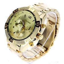Mens Luxury Heavy Plated Metal Gold Baller Analog Round Quartz Dress Wrist Watch