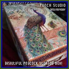 NEW Punch Studio Blue Royal PEACOCK Photo Keepsake XMAS Cards CRAFTS Storage Box