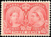 1897 Mint NH Canada VF Scott #53 3c Diamond Jubilee Stamp