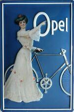 OPEL Fahrrad Blechschild 20x30cm Frau im weißen Kleid mit Rad Automobil Auto