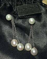 & optional 2 drop chain pearls Honora Freshwater Pearl Stud Pierced Earrings